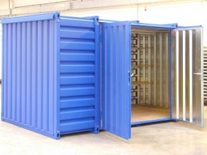 Container side double wing door