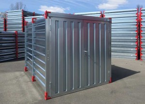Container with double winged door -  front side